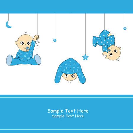 Baby boy przybycia karty  Ilustracje wektorowe