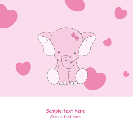 child card. Pink Elephant  Vector