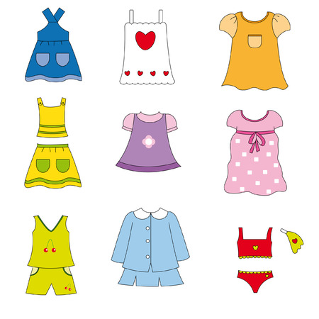Girl clothes for spring and summer  Vector