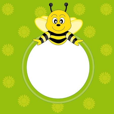 Postcard child with a bee. Picture frame or text Vector