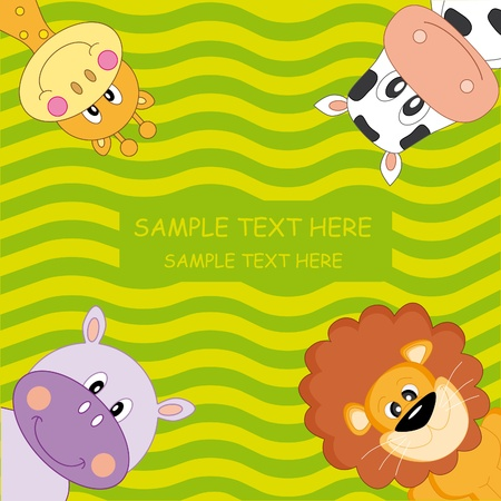 Invitation or greeting card. Animals: lion, giraffe, hippo and cow Vector