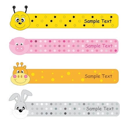 Banners animals for children web. Bee, pig, giraffe and rabbit Stock Vector - 9198597