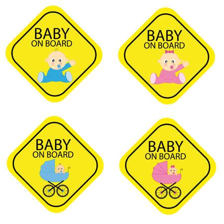 Baby on board warning signals. Stock Vector - 9198607