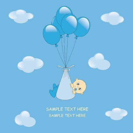 Baby boy arrival announcement card Stock Vector - 9198600