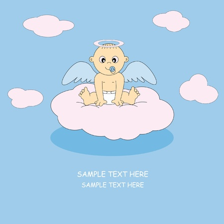 postcard angel boy Stock Vector - 9198575