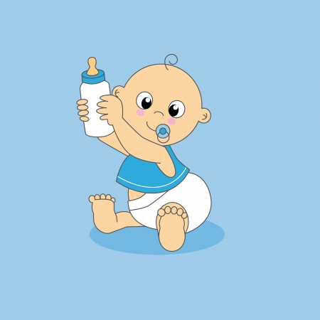 Baby boy greeting card. baby with a bottle Vector