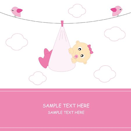 aby girl arrival announcement card Stock Vector - 9198581