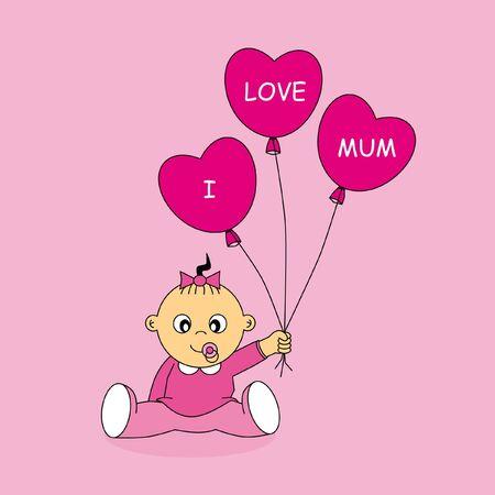 mums: Tarjeta de felicitaci�n chica con globos