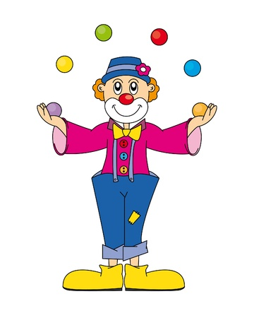 actors: unny clown. Vector art-illustration on a white background.
