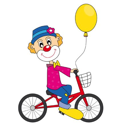 Clown bicycle. Vector art-illustration on a white background. Stock Vector - 9198560