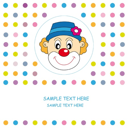 Greeting card. Clown  Vector