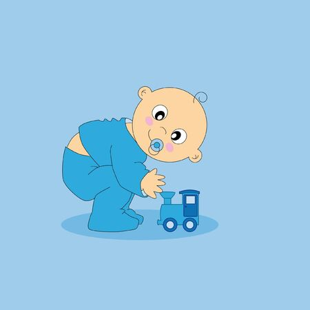 Baby playing with a train.baby boy greeting card Stock Vector - 9198567