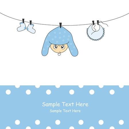 birthday boy: Baby boy arrival announcement card Illustration