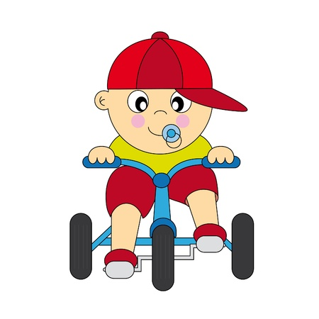 boy driving a tricycle