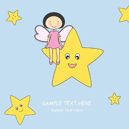 Baby card. Girl sitting on a star  Vector