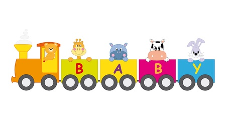 Train animals. Bear, giraffe, cow, rabbit and hippopotamus