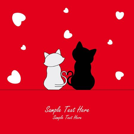 Love Card. Two cats in love Vector