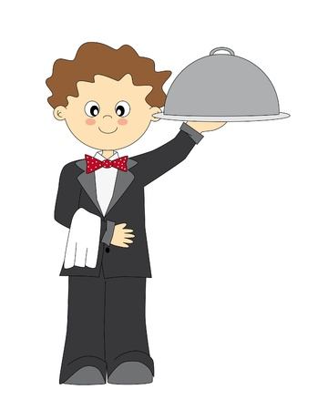 Waiter carrying a tray suit Stock Vector - 9198555
