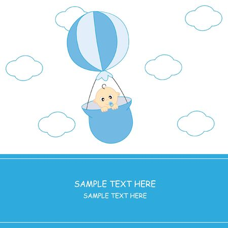 Balloon flying baby. Baby boy arrival announcement card Stock Vector - 9243057