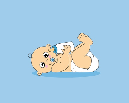 baby bottle: Baby boy greeting card. baby with a bottle
