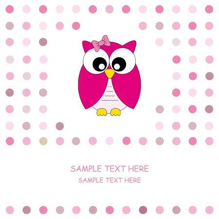 cute owl: cute owl card. Baby girl arrival announcement card  Illustration