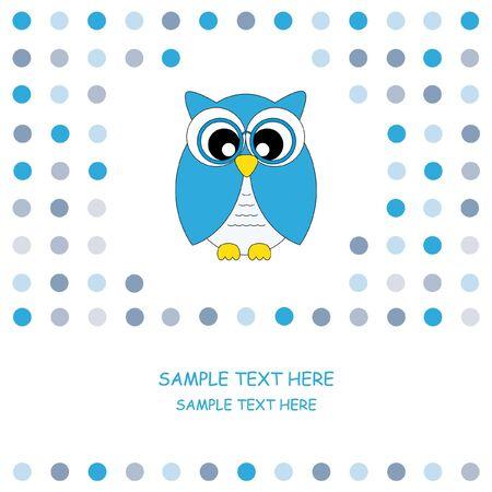 cute owl card . Baby boy arrival announcement card  Vector