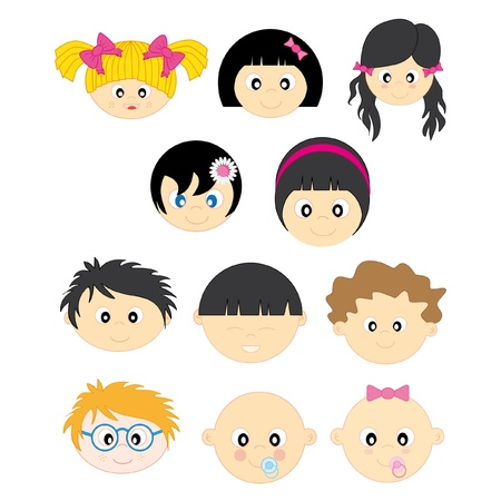 faces of children. Boys and girls Stock Vector - 9243074