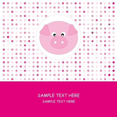 greeting card. Greeting card. Pink card with a pig Stock Vector - 9243066