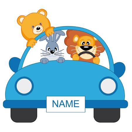 Baby Boy Ankunft Ankündigung. Tiere in einem blauen Auto