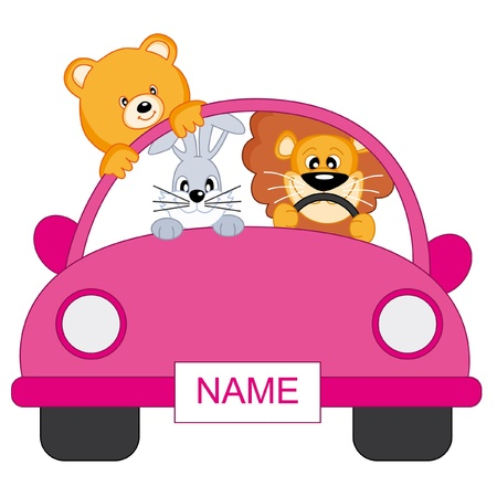 baby girl arrival: Baby girl arrival announcement. animals in a pink car Illustration