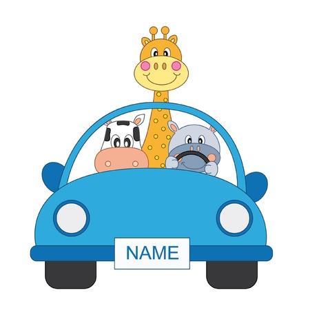 boy arrival announcement. animals in a blue car Vector