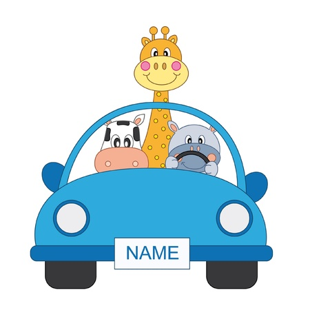 childlike: boy arrival announcement. animals in a blue car