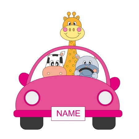 childlike: Baby girl arrival announcement. animals in a pink car Illustration