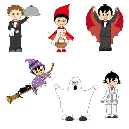 costumed: costumed children  Illustration