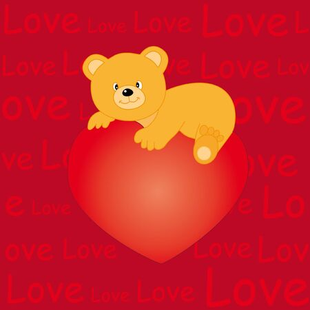 Bear heart with love Vector