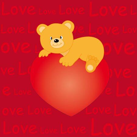 Bear heart with love Vector