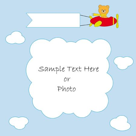 small plane: greeting card. Flying bear flying a plane