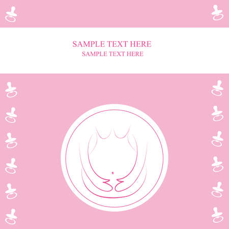 Pregnancy announcement postcard. baby girl Vector