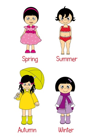 baby girl dressed in the four seasons  Stock Vector - 9276931