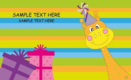 Birthday card. Happy giraffe