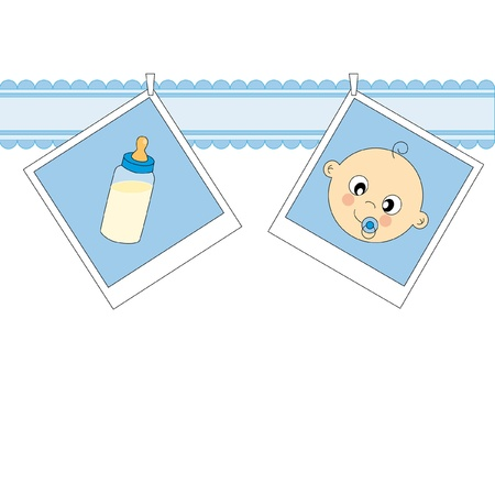 Baby boy arrival announcement card. baby face and baby bottle  Vector