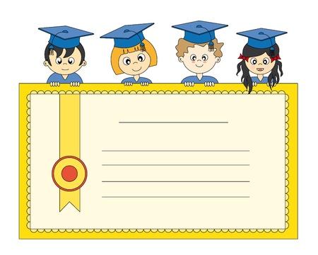kollegen: Absolventen mit diploma Illustration