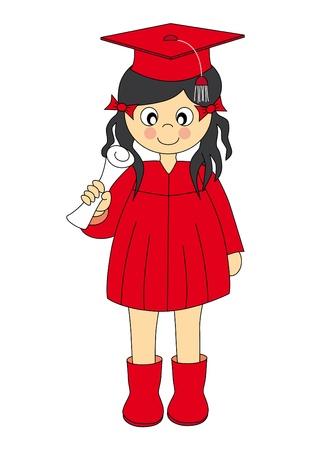 toga: Illustrazione di una ragazza Wearing laurea abbigliamento