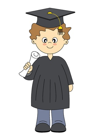 cap and gown: Illustration of Graduates