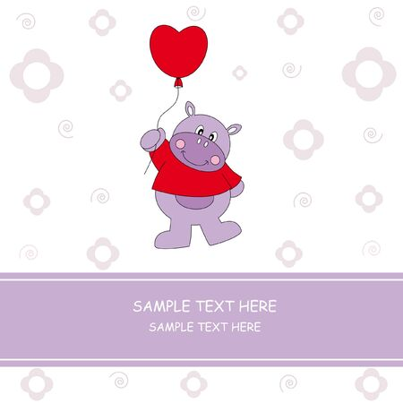 Hippo with a heart shaped balloon. greeting card  Vector