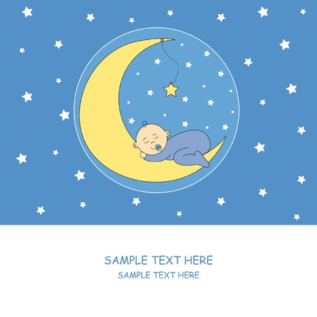 welcome party: baby boy sleeping on the moon Illustration