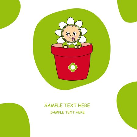 baby flower costume. baby greeting card. Vector