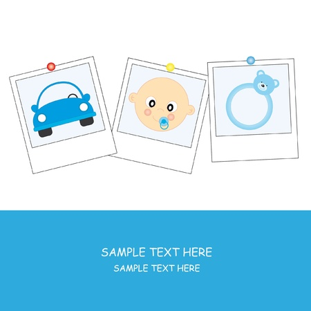Objects baby boy. Baby boy arrival announcement cards Vector
