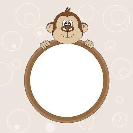 cartoon frame: Picture frame or text. Monkey