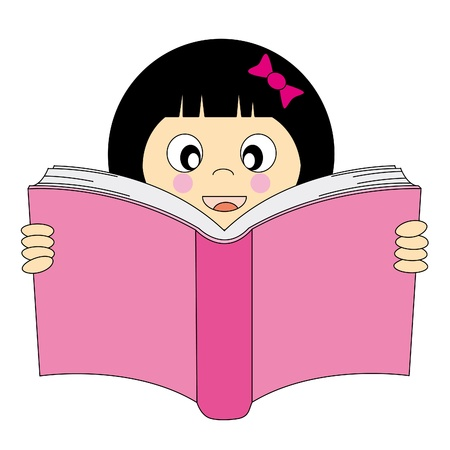 thinks: Happy girl reading a book. Editable vector background with white